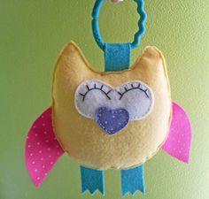 TINNY OWL Car Seat Felt Toy  Baby Eco Friendly by ThePrettyOwl, $18.45