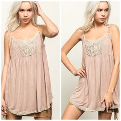COMING SOON  Baby Doll Camisole Not your traditional baby doll top. With a detailed crochet embroidery mid-bust to the bottom lace trim and a flirty loose fit, it`s a summer casual look that spells comfortable and cute all over! ($38) Tops Camisoles