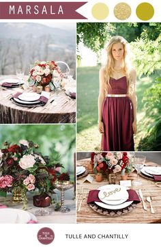 sparkling gold and marsala wedding color ideas for fall wedding 2015
