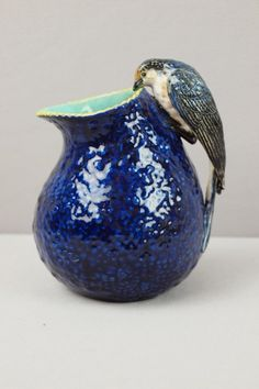 GEORGE JONES majolica cobalt gourd pitcher with bird handle