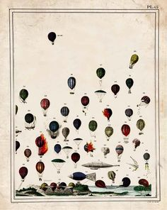 "Hot Air Balloon ""Up and Away"" Steampunk Victorian Antique Print"