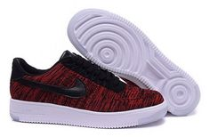 new product 52313 ee9e5 air force one nike basse air force 1 flyknit noir et rouge homme