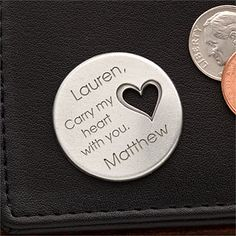 """This Personalized Pocket Token is so sweet and romantic! You can have it engraved with anything for only $9.95 at PersonalizationMall but I love the """"Carry my heart with you"""" example! This is a great gift idea for military spouses or people in long-distance relationships! #Romantic #Military #Love"""