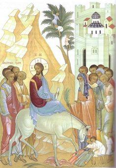 The Entry into Jerusalem Religious Icons, Religious Art, Orthodox Icons, Sacred Art, I Icon, Kirchen, Christian Art, Jerusalem, Fresco