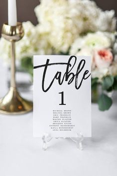 Modern Wedding Seating Chart Black and White Table Numbers