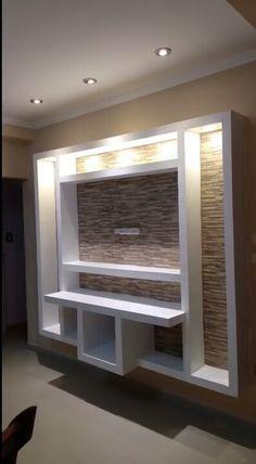 Wall Unit Designs, Living Room Tv Unit Designs, Ceiling Design Living Room, False Ceiling Bedroom, Home Room Design, Tv Unit Interior Design, Tv Unit Furniture Design, Bedroom Furniture Design, Lcd Wall Design