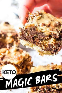 These Keto Magic Bars are pretty much the best low-carb dessert ever. Packed with chocolate, coconut, pecans, a quick an Diet Desserts, Low Carb Desserts, Healthy Desserts, Low Carb Recipes, Dessert Recipes, Holiday Desserts, Quick Keto Dessert, Bar Recipes, Cookie Recipes