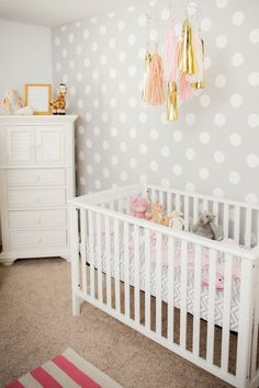 Polkadot accent wall. Luv luv the gray and of course polka dots