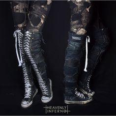 Thigh high SNEAKERS shoes converse style boots lace up distressed... ($225) ❤ liked on Polyvore featuring shoes, boots, goth shoes, rocker shoes, lace up shoes, punk rock shoes and distressed shoes