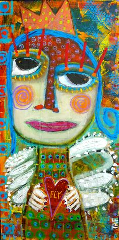 """An Owl Under Her Wing"" mixed media painting by Tracey Ann Finley #outsiderart www.traceyannfinley.com"
