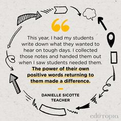 """""""This year, I had my students write down what they wanted to hear on tough days. I collected those notes and handed them out when I saw students needed them. The power of their own positive words returning to them made a difference."""" - Danielle Sicotte, Teacher Teaching Aids, Tough Day, Teacher Quotes, School Counselor, Positive Words, Best Teacher, Study Tips, Education Quotes, Positivity"""