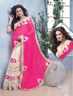 This deep buttercream & fuchsia chiffon, net saree is adding the beautiful glamorous showing the sense of cute and graceful. This gorgeous dress is displaying some superb embroidery done with lace, patch work, stones work. Sarees Online India, Indian Bridal Lehenga, Western Wear For Women, Net Saree, Latest Sarees, Chiffon Saree, Half Saree, Party Wear Sarees, Saree Collection