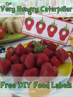 Free food label printables for a Very Hungry Caterpillar party!