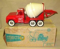 Structo Ready-Mix Concrete Truck w/ original Box Ready Mixed Concrete, Mix Concrete, Tonka Trucks, Tonka Toys, 1980 Toys, Retro Robot, Metal Toys, Classic Toys, Old Toys