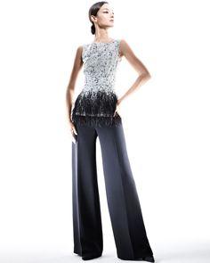 Carolina Herrera Sleeveless Lace Blouse & Silk Crepe Pants - Neiman Marcus