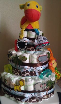 My very own creation! Baby Zoo Animal Themed Diaper Cake.