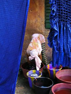 Dyeing cloth - Bamako, Mali