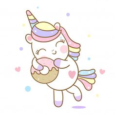 Hand drawn a lovely girl. Cute Unicorn, Unicorn Art, Doodles Kawaii, Chibi Kawaii, Unicorn Wallpaper Cute, Hello Kitty Iphone Wallpaper, Donut Cartoon, Cartoon Kids, Arte Do Kawaii