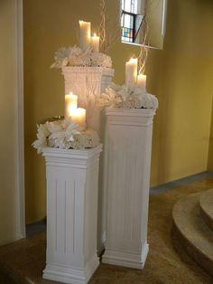Resultado de imagen para how to make DIY lighted wedding columns Church Wedding Decorations, Wedding Centerpieces, Wedding Church, Centerpiece Decorations, Flower Centerpieces, Rustic Wedding, Flower Arrangements, Wedding Pillars, Wedding Sparklers