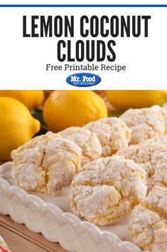 Lemon Coconut Clouds Lemon Coconut Clouds Mr Food Test Kitchen mr food Holiday Cookie Recipes These heavenly Lemon Coconut Clouds are lighter than air nbsp hellip Lemon Cake Mix Cookies, Lemon Cake Mixes, Coconut Cookies, Yummy Cookies, Holiday Cookie Recipes, Holiday Cookies, Hawaiian Cookies, Dessert Recipes, Dessert Ideas