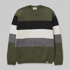 Carhartt Goldner Sweater in Rover Green Stripe - Steranko Clothing Manchester UK Nylons, Carhartt Wip, Knit Fashion, Green Sweater, Green Stripes, Knitwear, Black And Grey, Pullover, Knitting