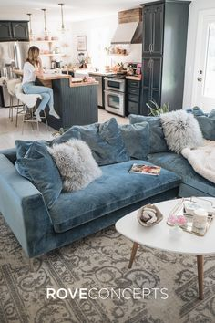 Living Room Renovation Reveal Jess Ann Kirby uses the Rove Concepts Hugo Sectional as the statement of her living room # Boho Living Room, Living Room Colors, Cozy Living Rooms, Living Room Grey, Living Room Modern, Apartment Living, Home And Living, Living Room Designs, Small Living