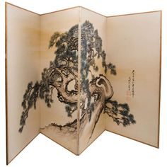 Large Japanese Paper Four Fold Screen With Gnarled Pine Tree, Early 20thC. | From a unique collection of antique and modern paintings and screens at http://www.1stdibs.com/furniture/asian-art-furniture/paintings-screens/