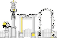 I'd love to have an artist paint/stencil/ spray Grecian columns laden with grapes and vines as a backdrop to the party. Perhaps they could even finish the mural live as further entertainment? I imagine a black and white scene with pops of yellow and we could string them with gently twinkling yellow fairy lights. Grape Painting, Stencil Painting, Columns, Fairy Lights, Twinkle Twinkle, Vines, Stencils, Backdrops, Scene