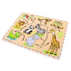 There's plenty of fun and laughter in store with this unusual Safari Maze Puzzle. Each animal's head can be  pulled along the maze until it reaches the correct body, or maybe it's time to create new monsters of the jungle by muddling them up! A great way to learn matching skills while also improving dexterity and concentration. Consists of 9 moving head pieces. Ages 1 year and up.  http://shop.bigjigstoys.co.uk/products/productdetail/part_number=BB058/12465.0.4.3