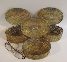 Brass Wire Wicker Baskets Vintage Set of Three Oval Small