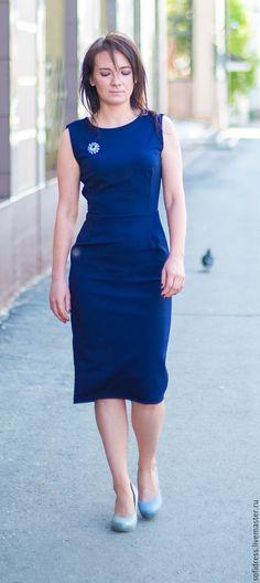 Купить Платье - тёмно-синий, платье, офисное платье, трикотаж