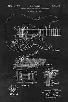 Fender Stratocaster Guitar Patent Art Print