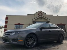 This 2012 Ford Fusion FWD is running KMC 35 wheels Continental Extremecontact tires with Stock Stock suspension. Tyre Fitting, Aftermarket Wheels, Ford Fusion, Wheels And Tires, Super Sport, Performance Parts, Custom Cars, Vehicles, First Car