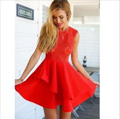 35.90 USD lace dress,Sexy Red sleeveless prom dress,Elegant Joining together