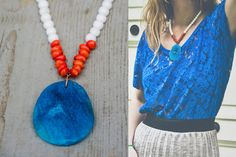 BAHAY necklace with BLUE AGATE slab //  large by IRONWOLFjewelry