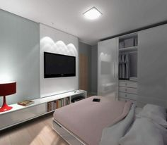 Shelve At Bottom And Tv Looks Good · Small Modern BedroomSmall BedroomsWhite  ... Part 68