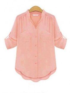 Fashion Casual Short Sleeve Chiffon Flounced Hem Loose V-Neck Blouse