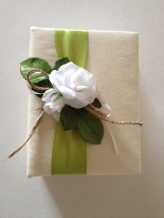 Wedding Photo Album  Rustic White Roses  Green by CoutureLife, $24.99
