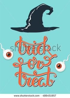 Trick-or-treat hand lettering. Halloween vector poster