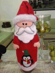 Portabotella Papa Noel patchwork