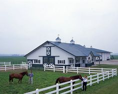 Good barn idea. A round pen, a pasture, a barn, and even a garage. Who wouldn't want this!