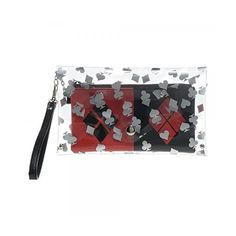 DC Comics Harley Quinn Clear w/Wristlet Envelope Wallet ($17) ❤ liked on Polyvore featuring bags, wallets, crystal clear bags, wristlet wallets, clear wallet, white wristlet and white bag