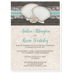 Reception Only Invitations - Seashell Lace Wood and Sand Beach                                                                                                                                                                                 More