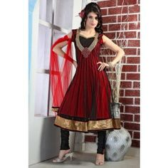Ravishing Black & Red Net Salwar Kameez