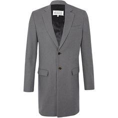 Maison Margiela Grey Melange Coat ($1,680) ❤ liked on Polyvore featuring men's fashion, men's clothing, men's outerwear, men's coats, mens gray pea coat, mens fur collar coat, mens heavy winter coats and mens grey coat