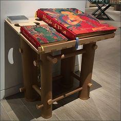 Freestanding Wood Bookstand Table Murals of Tibet – Fixtures Close Up