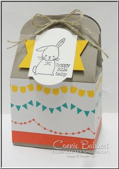 Made with Love, Baker's Box, For the Grand Achievers July Blog Hop, I used this sweet little bunny and Cherry on Top Designer Paper. Stop by and take the blog hop for some great ideas using the new In Colors! Created by Connie Babbert