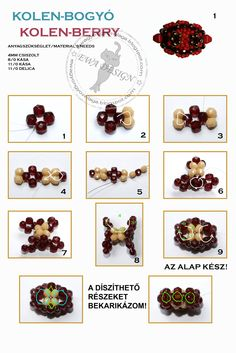 """KOLEN BERRY BB - Free Pattern by Ewa Gyöngyös Világa. Use. faceted beads 4mm, seed beads 8/0 and 11/0, Délica seed beads 11/0. At step 9: """"The basic bead is finished!"""". At the bottom of the page: """"The circled areas will be embellished!"""". Page 1 of 2"""
