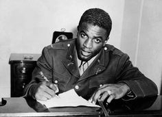 Jackie Robinson, broke the colour barrier in baseball and fought for civil rights. Here he is in his WWII uniform, but he never saw combat due to being court-marshalled for trumped-up charges because he refused to submit to the racism he faced in the military via @Linda Hickerson