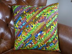 Pillow Cover  African  Wax Print  18 x 18  by OurTalkingHands, $25.00
